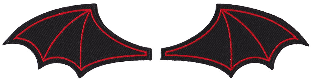 Bat Wings Embroidered Patch Set by Sourpuss - Black/Red (ep714)