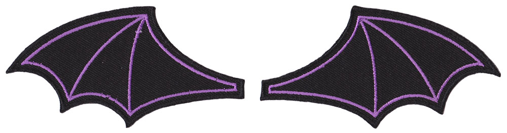 Bat Wings Embroidered Patch Set by Sourpuss - Black/Purple (ep715)