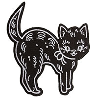 Creep Heart Black Cat Embroidered Patch by Sourpuss (ep934)