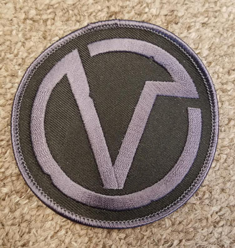Virus- V Symbol Embroidered Patch - black on black (ep208)