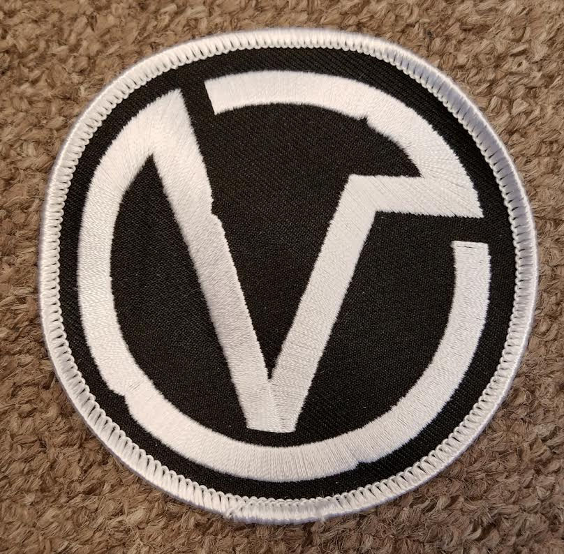 Virus- V Symbol Embroidered Patch - black & white (ep209)