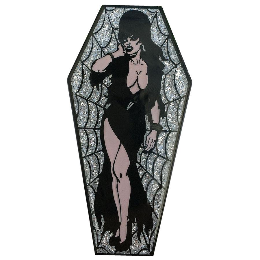 Elvira Coffin Silver Glitter Enamel Pin (MP125)