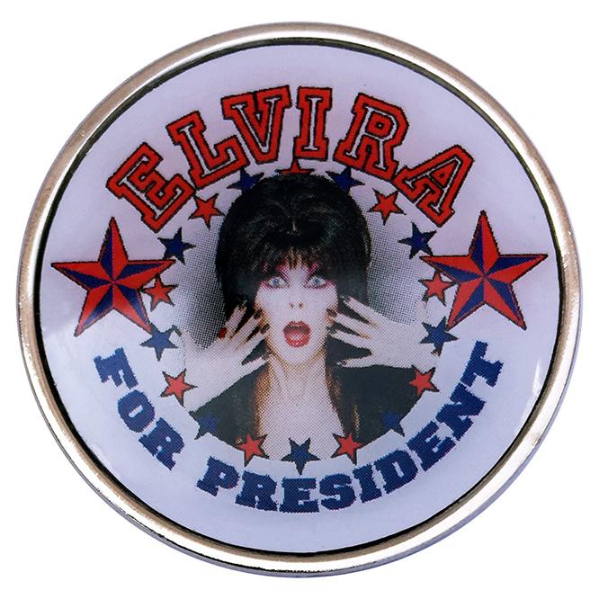 Elvira For President Photostone Pin by Kreepsville 666 (MP132)