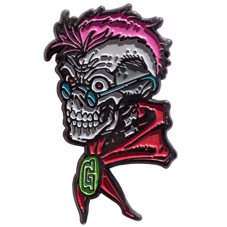 Goosebumps Enamel Pin by Kreepsville 666 - Glow in the Dark Curly Skull (MP114)