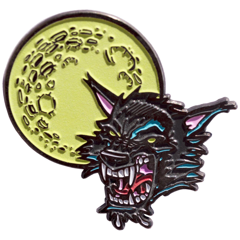 Goosebumps Enamel Pin by Kreepsville 666 - Glow in the Dark Moon Wolf (MP116)