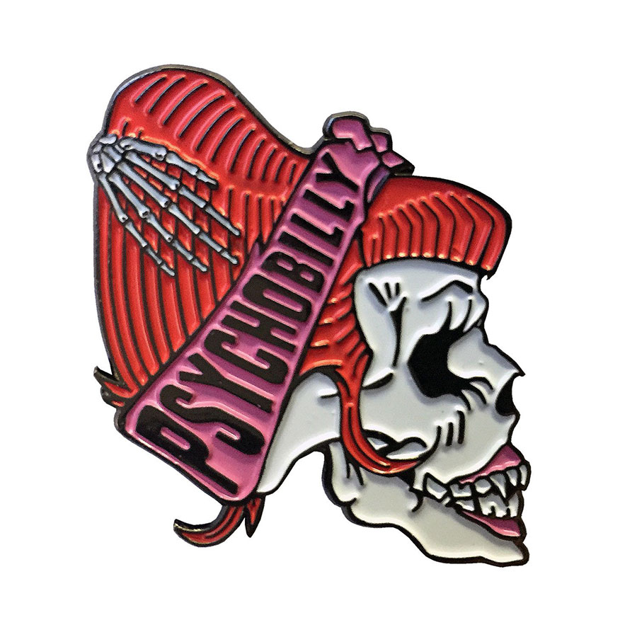 Psycho Pyschobilly Girls Skull Red Enamel Pin by Kreepsville 666 (MP121)