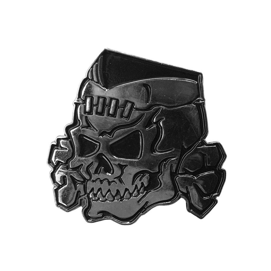 Psycho Stitched Skull Chrome Enamel Pin by Kreepsville 666 (MP124)