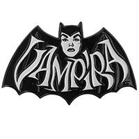 Large Vampira Retro White Bat Enamel Pin from Kreepsville - limited edition (MP415)