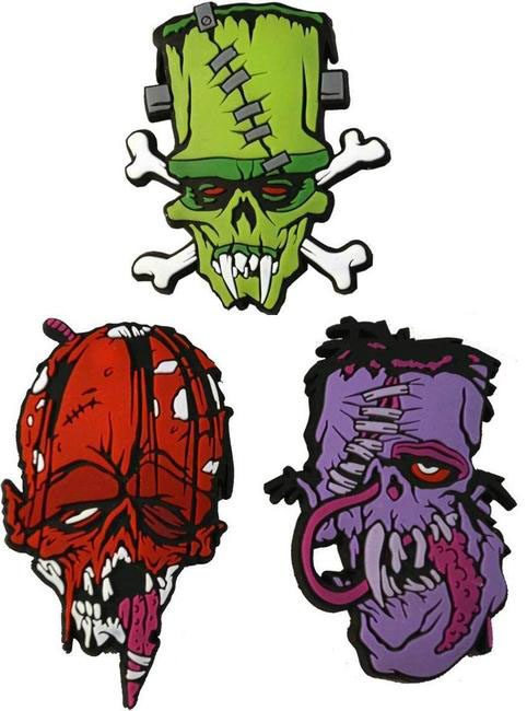 Toxic Toons Ugly Heads Silicone Pin / Badge Set by Kreepsville 666 - Set of 3
