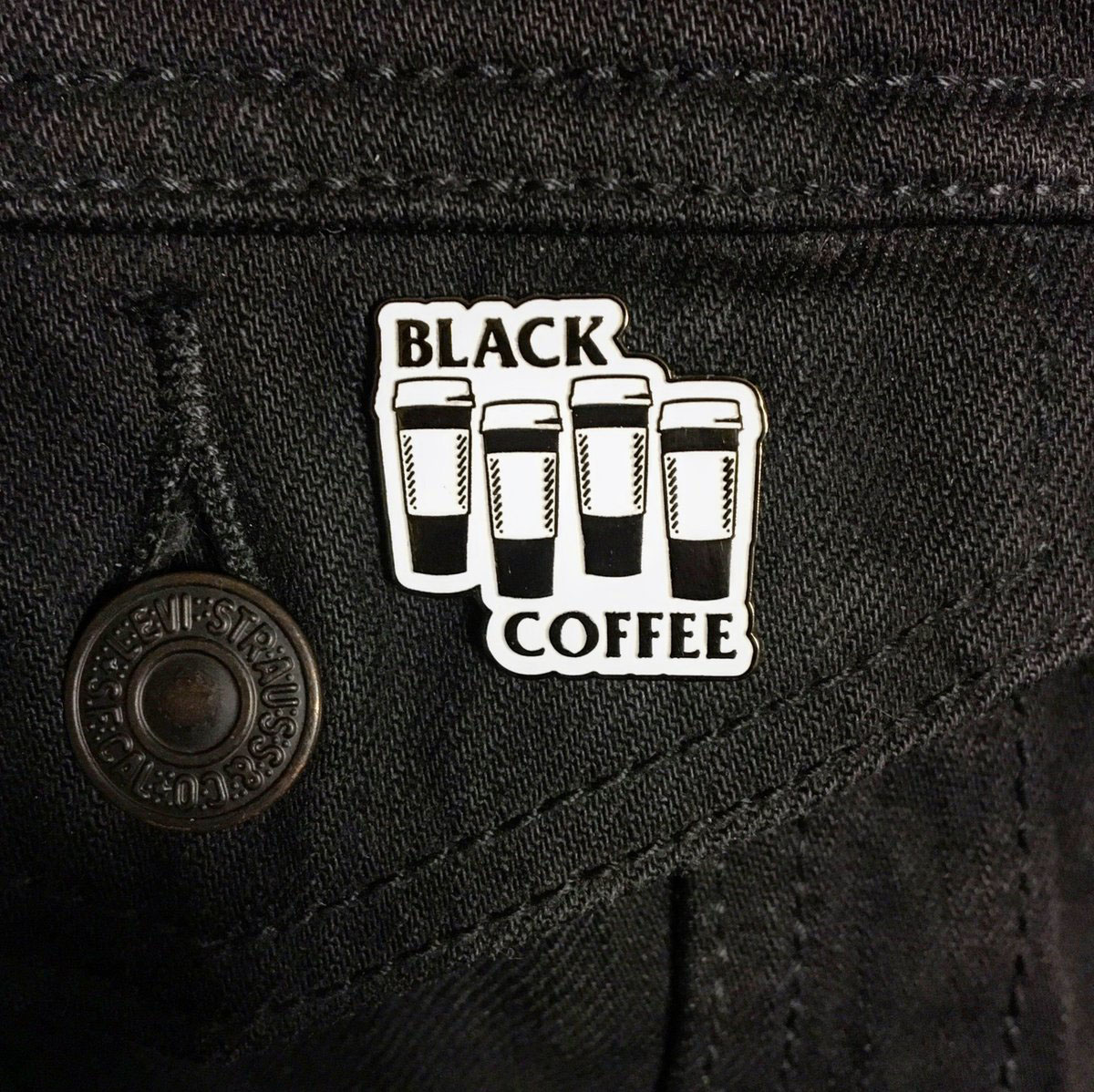 Black Coffee Enamel Pin by Bort's Pin Emporium (MP210)
