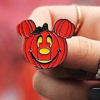Pumpkin Mickey Enamel Pin w yellow eyes by Lively Ghosts (MP429)