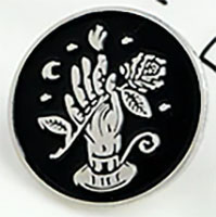 Candle Hand & Rose Enamel Pin (mp325)