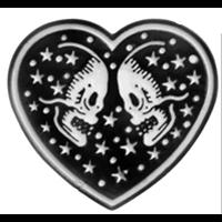 Double Skull Heart Enamel Pin (mp338)