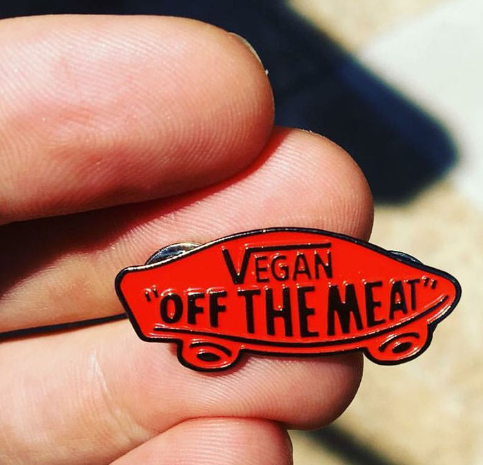 Off The Meat Vegan Enamel Pin by Bort's Pin Emporium - in red (MP211)