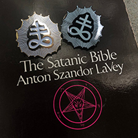 Leviathan / Satanic Cross Glow In The Dark OR White & Gold Enamel Pin by Graveface (MP436)