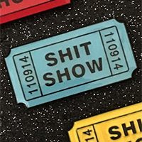 Shit Show Ticket Enamel Pin by Mood Poison - Blue (MP287)