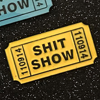 Shit Show Ticket Enamel Pin by Mood Poison - Yellow Glow in the Dark (MP152)