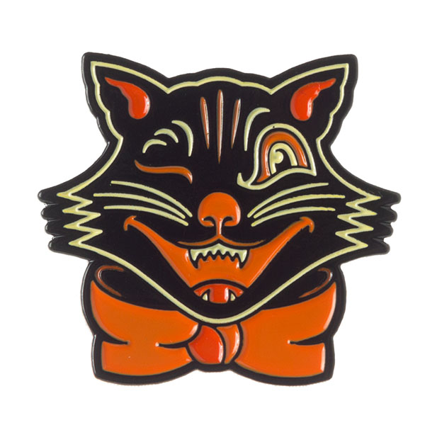 Black & Orange Halloween Cat Face Pin by Sourpuss (MP216)
