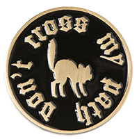 Enamel Don't Cross My Path Black Cat Pin by Sourpuss (mp268)