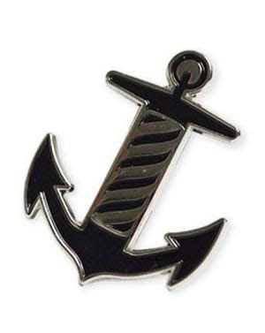 Tip Top Enamel Anchor with Barber Pole Detail Pin (MP52)