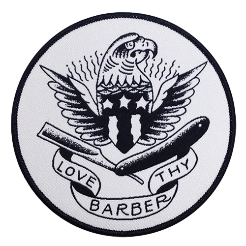 Tip Top Love Thy Barber Iron On Embroidered Patch (EP736)
