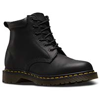 6 Eye Padded Collar Black Greasy Dr. Martens Boots