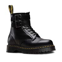 1460 ALT (8 Eye Black Smooth Boot With Buckles And Zipper) by Dr. Martens