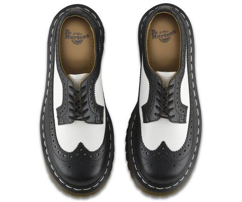 5 Eye Black & White Smooth Brogue by Dr. Martens