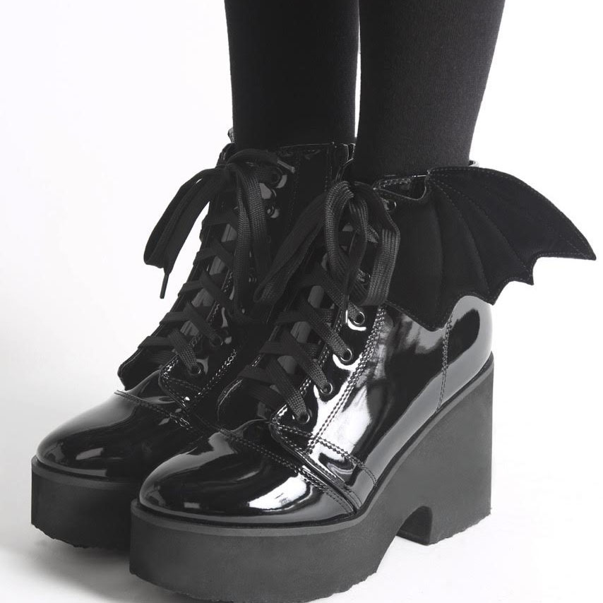 Bat Royalty Bat Wing Boot by Iron Fist & Ash Costello - in Patent Black With Black Wings