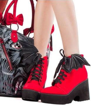 Bat Royalty Bat Wing Boot by Iron Fist  & Ash Costello - in Red Velvet With Black Wings - SALE