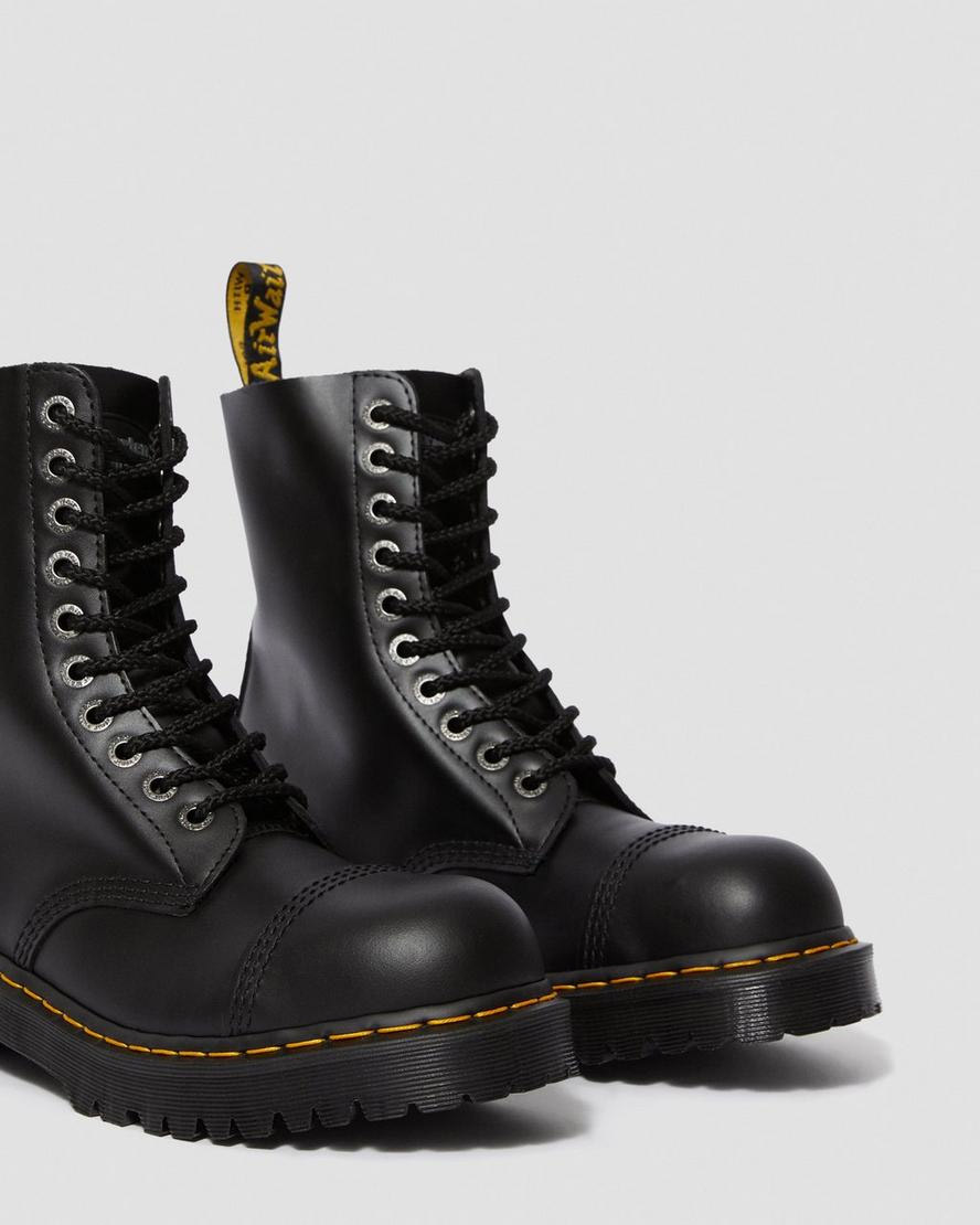 ca6c281dea5 10 Eye Black Fine Haircell Steel Toe With Black Sole And Stitched Toe Dr.  Martens Boot