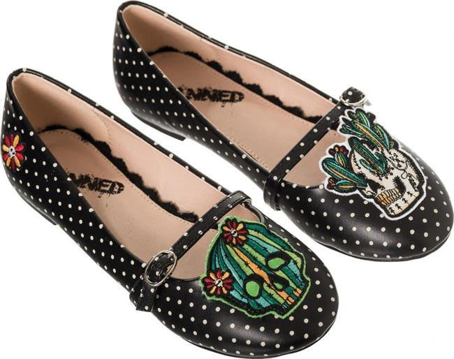 Flying High Sugar Skull Mary Jane Flat by Banned Apparel