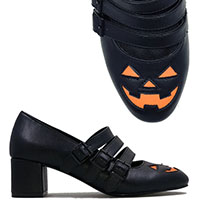Eloise Jack O Lantern Heel by Strange Cvlt - Black w Orange Face - SALE