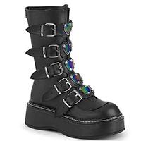 Emily 330 Platform 5 Buckle Calf High Boot by Demonia Footwear