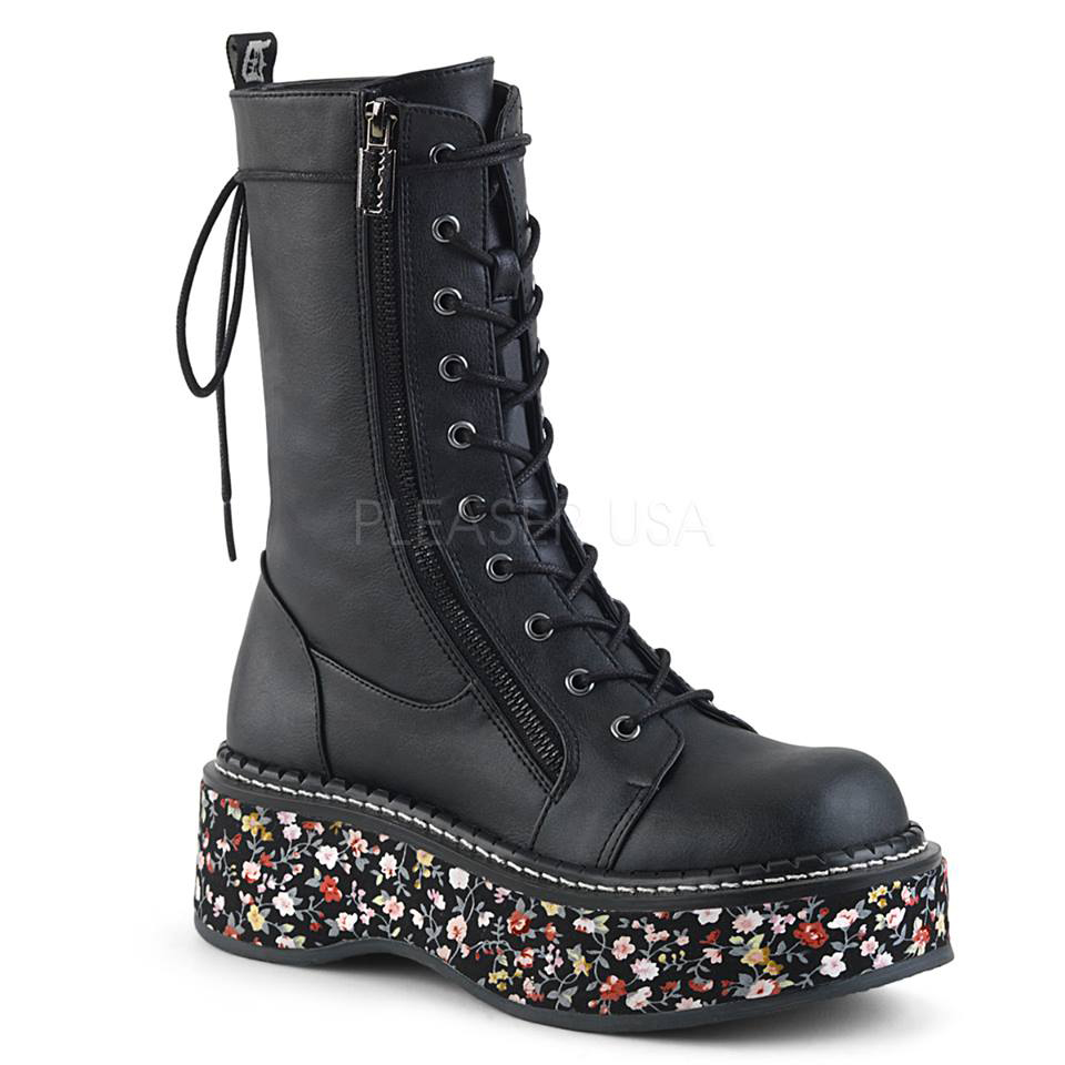 Emily 350 Floral Platform Combat Boot by Demonia Footwear - in Black