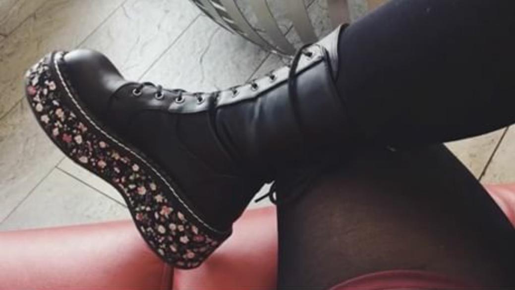 Demonia Combat Emily Platform By Footwear 350 Black In Boot Floral n0Pk8Ow