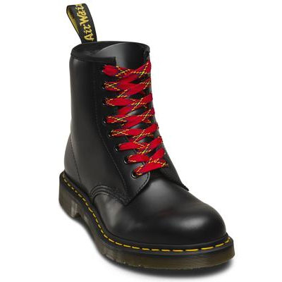 8-10 Eye Plaid Laces by Dr Martens- Red Plaid (140cm)