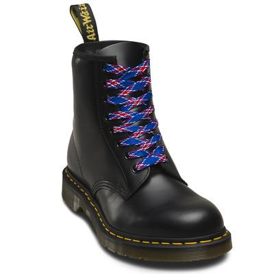 8-10 Eye Plaid Laces by Dr Martens- Blue Plaid (140cm)