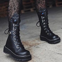 Lilith Lace Up Monster Combat Boot by Demonia Footwear (Vegan)