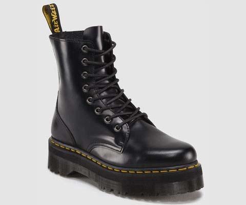 sprzedaż online najnowszy najtańszy Jadon 8 Eye Thick Sole Side Zip Dr. Martens Boots- Black Smooth