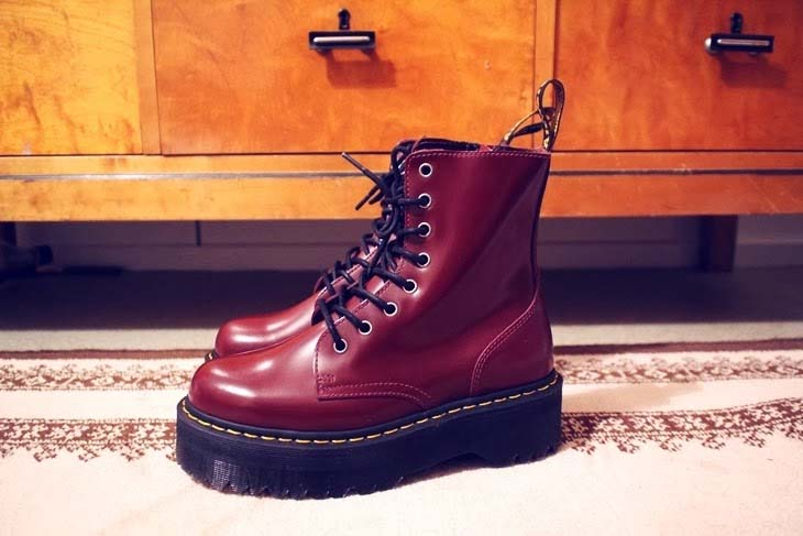 d010b5d16f4f Jadon 8 Eye Thick Sole Side Zip Dr. Martens Boots- Cherry Smooth (Sale  price!)