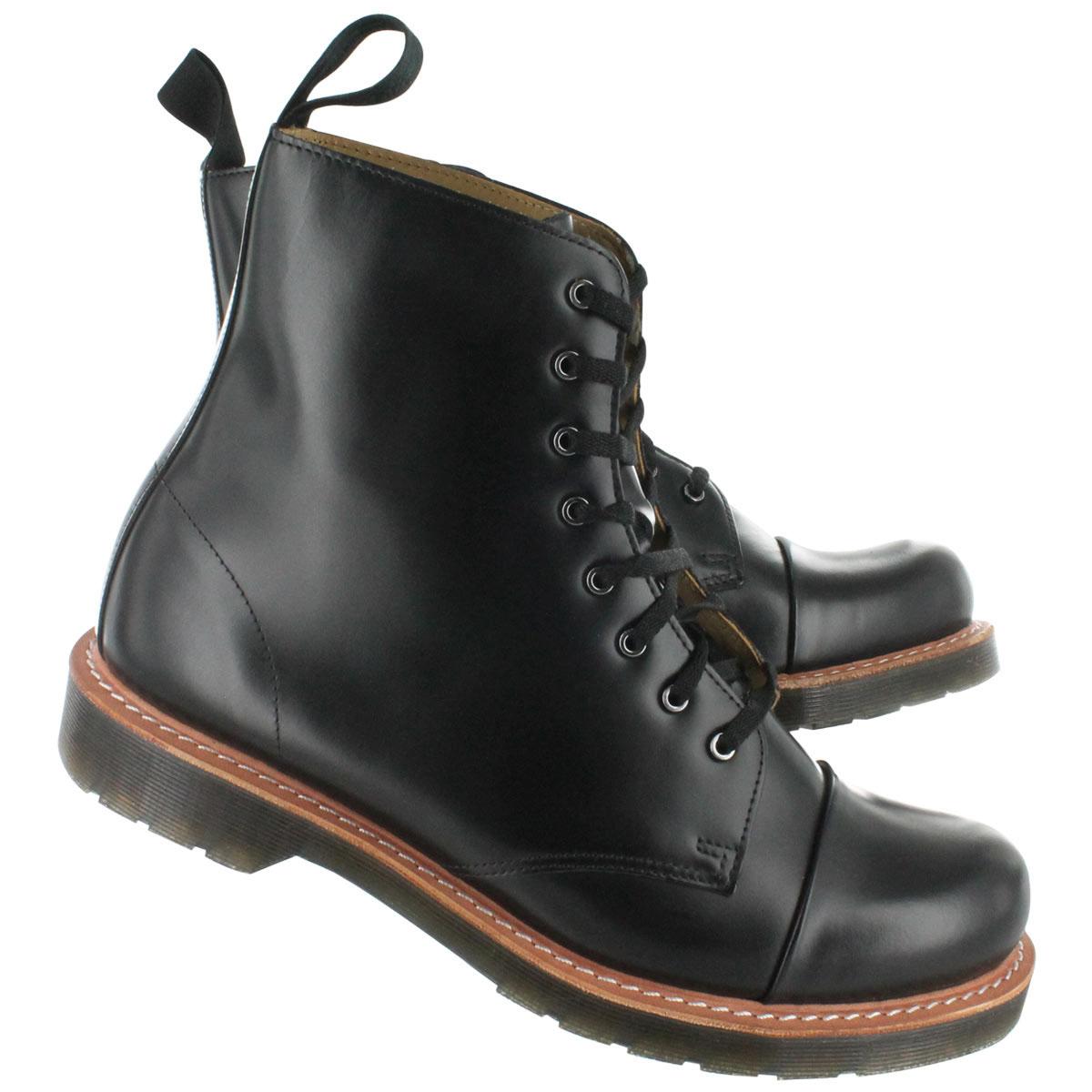 charlton 8 eye black polished smooth dr martens boots. Black Bedroom Furniture Sets. Home Design Ideas