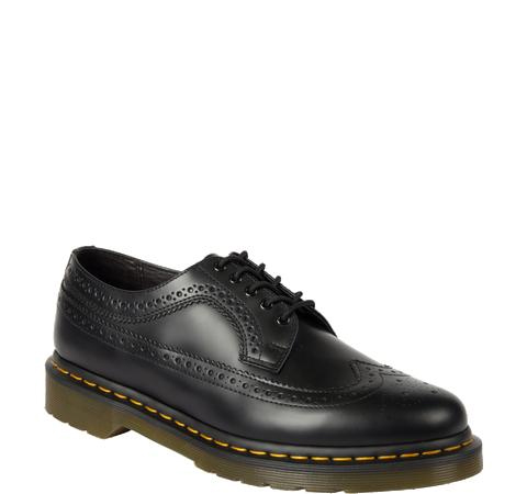 Black Smooth Brogue by Dr. Martens