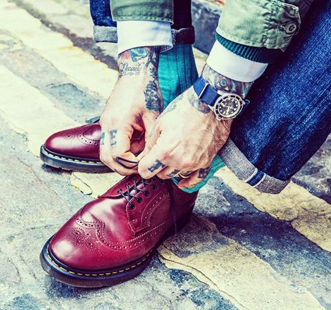5 Eye Cherry Smooth Brogue by Dr. Martens