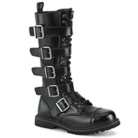 Unisex Riot Steel Toe 18 Eye Combat Boot by Demonia Footwear - in Black Leather