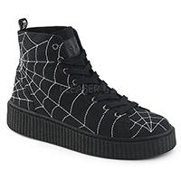 Unisex Creeper Sneeker 250 Spider Web Sneaker by Demonia Footwear