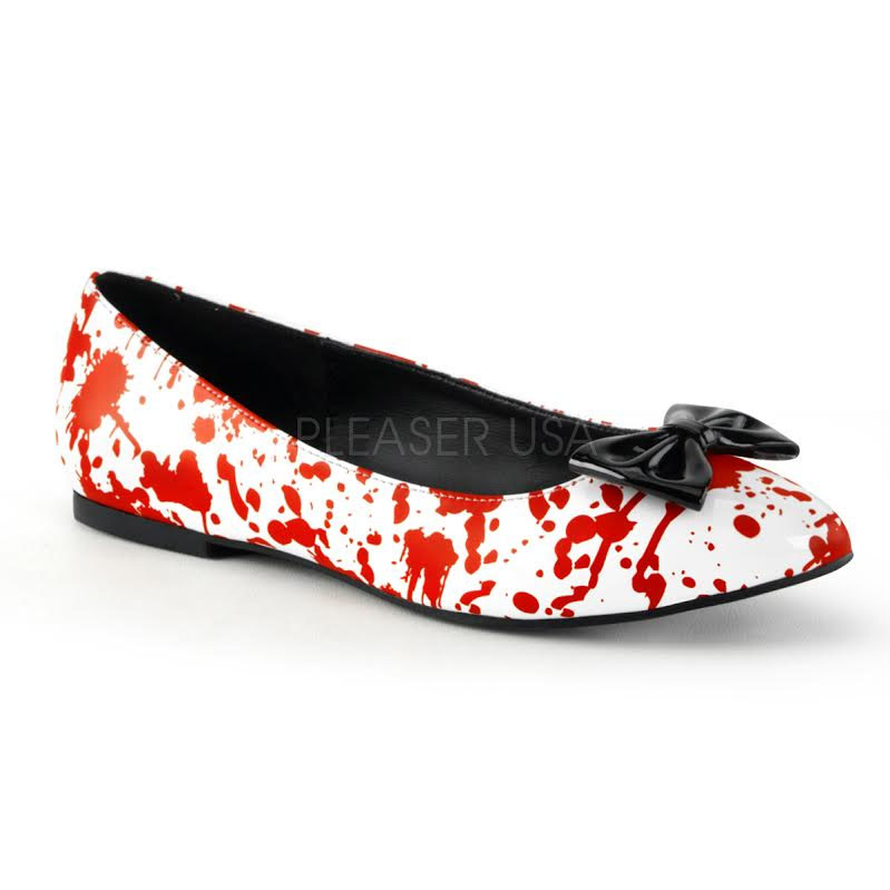Blood Splattered Pointed Toe Flat with Bow by Demonia - SALE