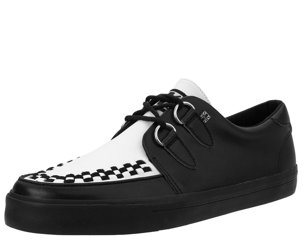 Black & White Leather VLK creeper style sneaker by Tred Air UK