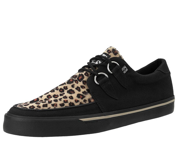Black  And Leopard VLK creeper style sneaker by Tred Air UK (Vegan)