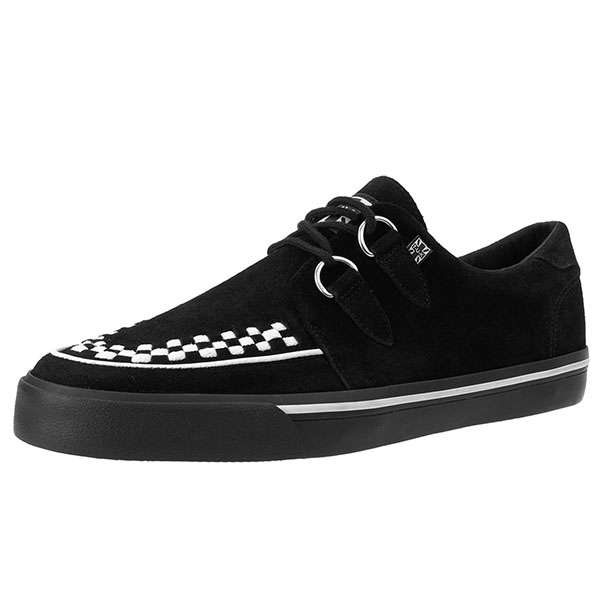 Black Suede With White Interlace VLK creeper style sneaker by Tred Air UK